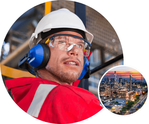 Man in hard hat and red shirt working